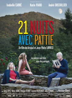 "Póster de ""21 Nuits avec Pattie"" con el elenco principal: Isabelle Carré, Karin Viard y André Dussollier"