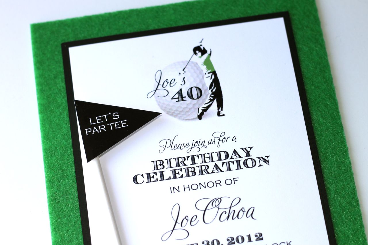 40th birthday golf themed invitations embellished paperie llc