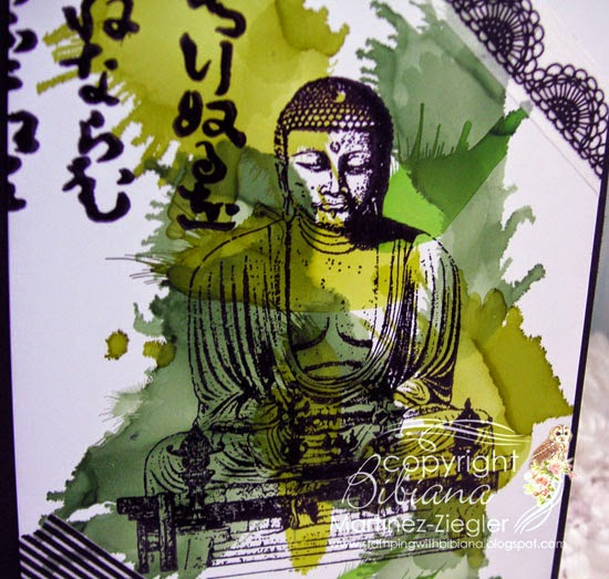 detail Zen card 50 shades of green alcohol inks