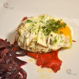 Huevos poché con rebozuelos.