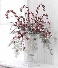 Christmas container with candycanes and silver branches