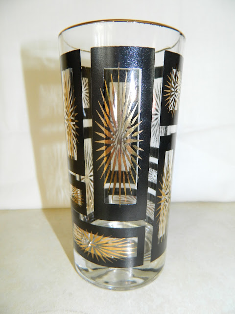 Mad Men 1950s atomic starburst gold mid-century glasses barware Just Peachy, Darling