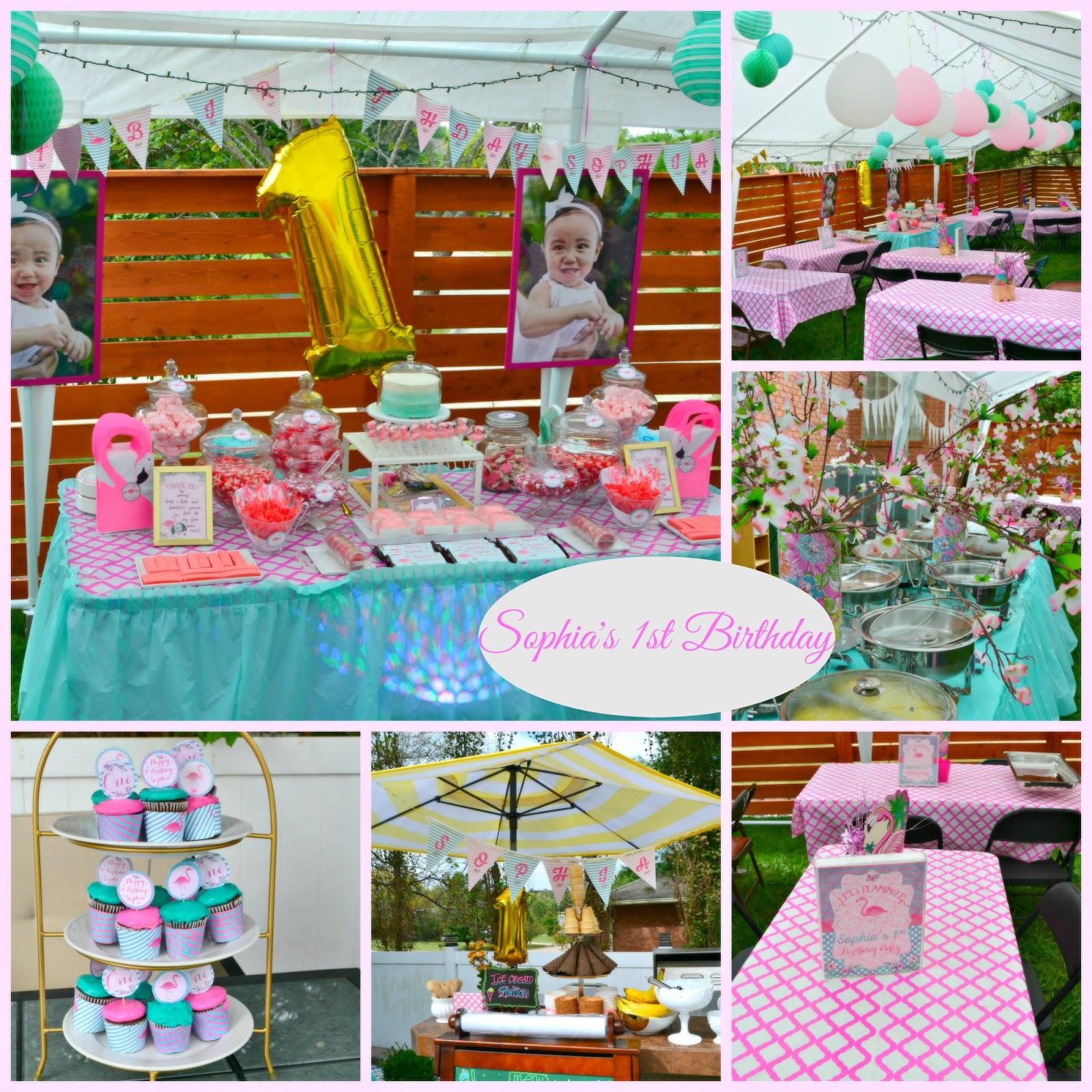 Sophias 1st Birthday Flamingle Party Decorations And Sweets Table