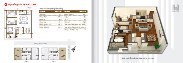 mặt bằng thiết kế căn hộ ch1 ch6 diện tích 133.98m2 chung cư hacc1