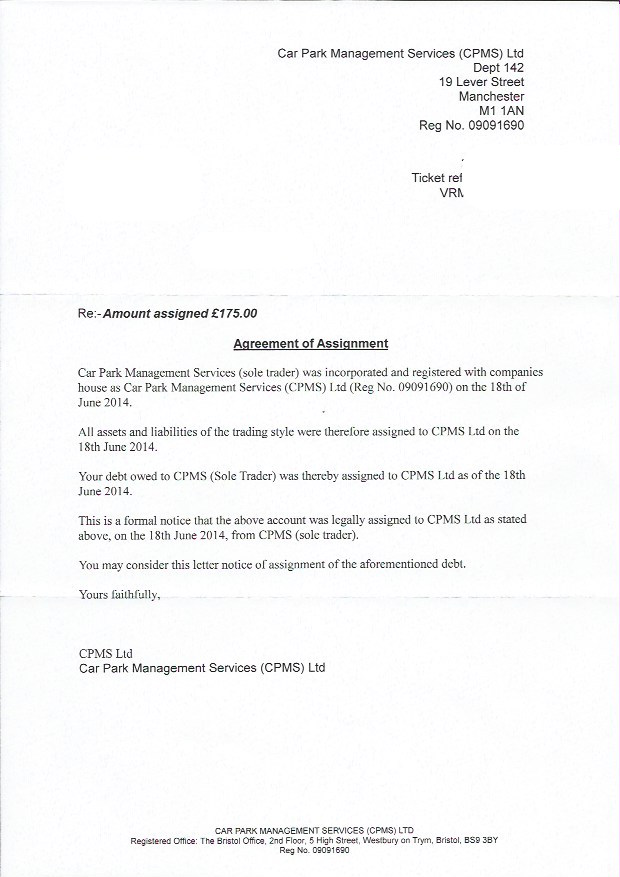 Notice of assignment of debt