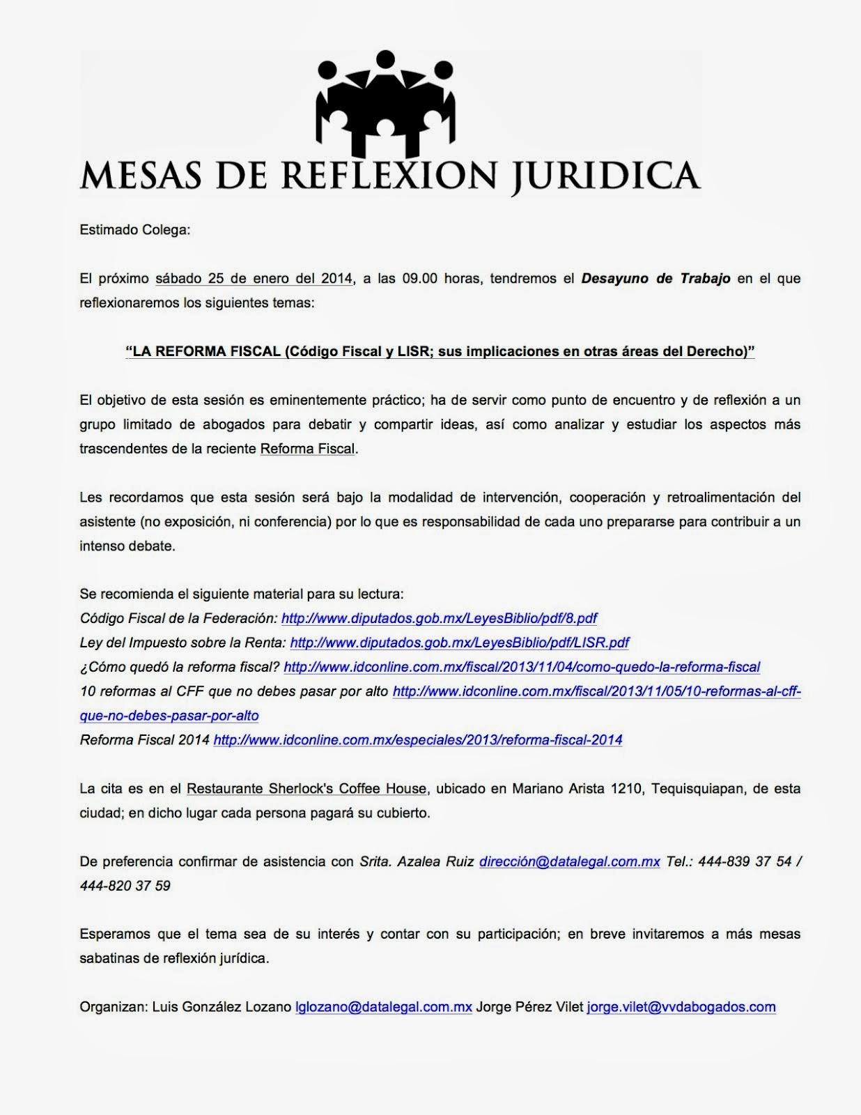 """Mesa de Reflexión Jurídica del sábado 25 de enero del 2014: """"LA REFORMA FISCAL"""""""