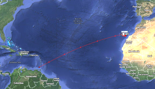 Graphic showing RORC Transatlantic Race Tracking - Route Destination: Grenada