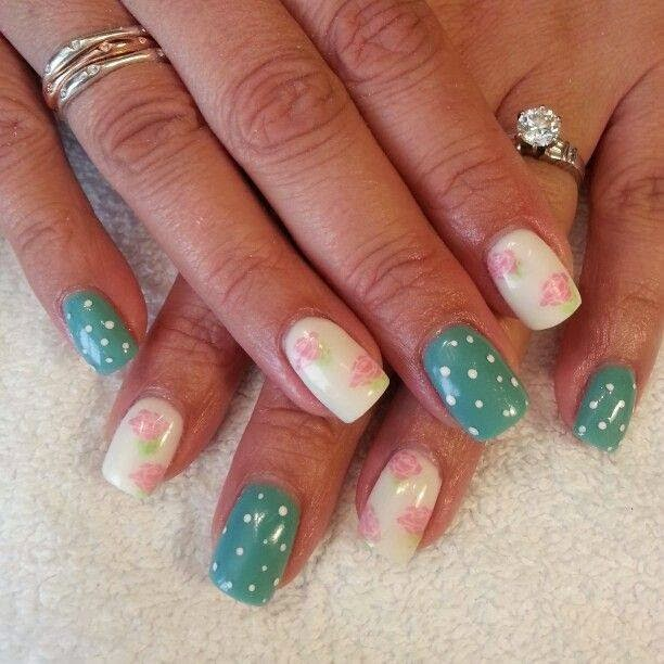 acrylic backfill very pretty in 'real teal'  'tea rose' vanilla whip design feats LED-polish-manicure-OPI-Nail-Polish-Lacquer-Pedicure-care-natural-healthcare-Gel-Nail-Polish-beauty-Acrylic-Nails-Nail-Art-USA-UK