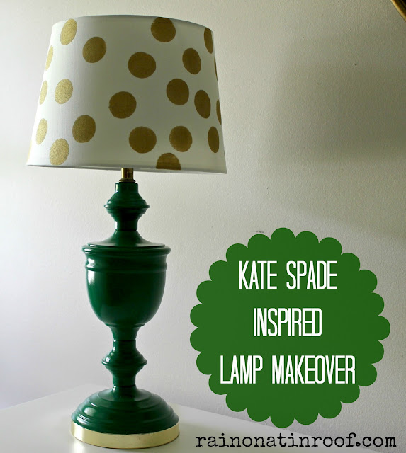 Kate Spade Inspired Lamp Makeover {rainonatinroof.com} #katespade #lamp #makeover #kellygreen #polkadots #DIY #rainonatinroof