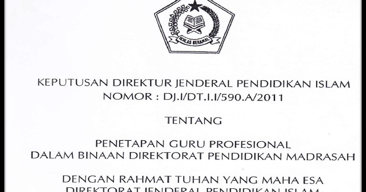 Sk Dirjen Dj I Dt I I 590 A 2011 Penetapan Guru Profesional Dalam Binaan Direktorat Madrasah