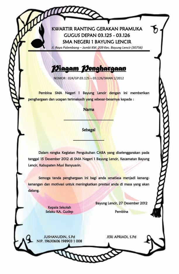 Piagam Penghargaan Pengukuhan Caba Calon Bantara