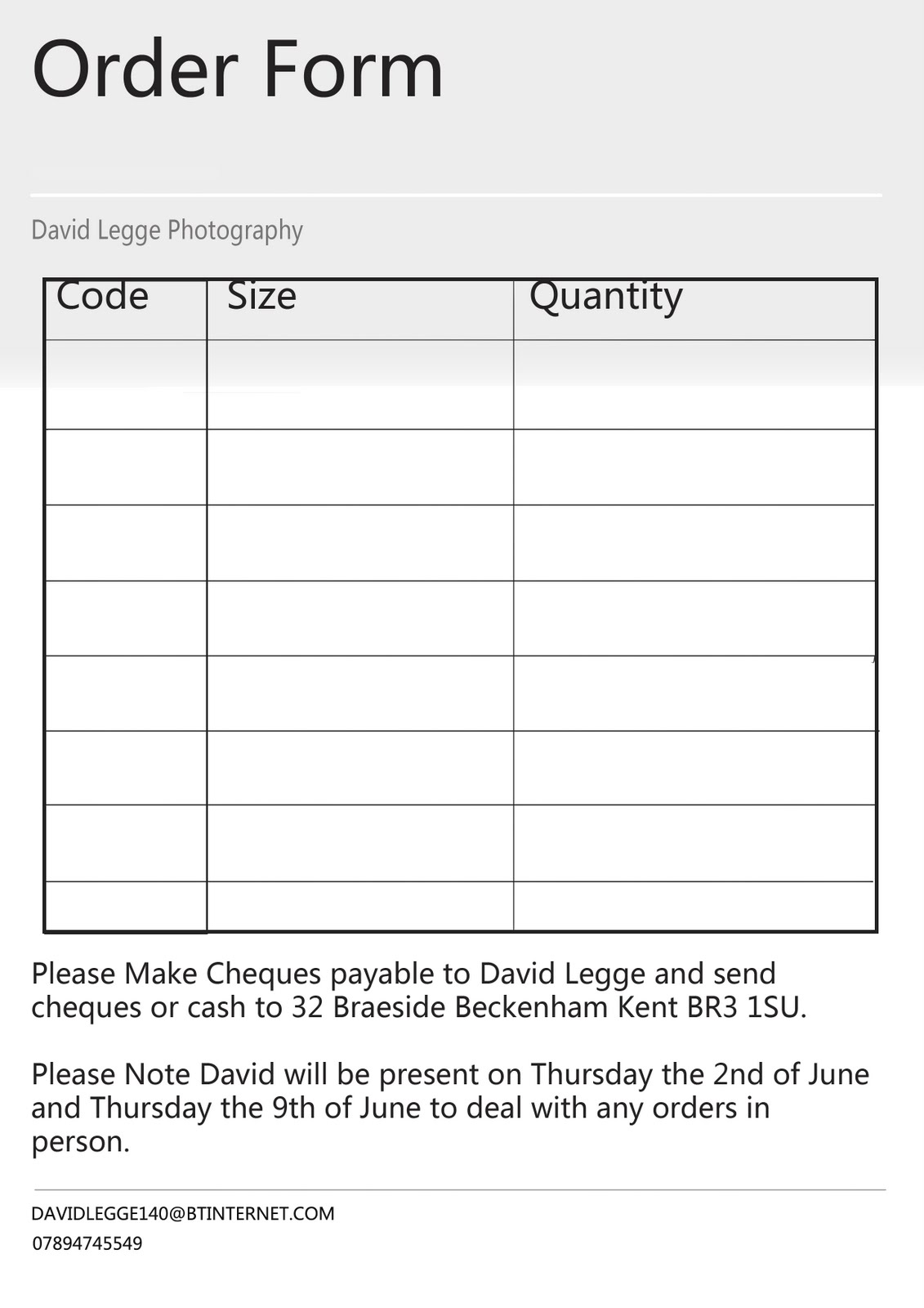 David Legge E&E Making it Happen: Order Forms