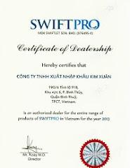 Giấy chứng Phân Phối độc quyền của sản phẩm SWIFTPRO