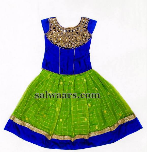 Green Checks Lehenga Blue Blouse