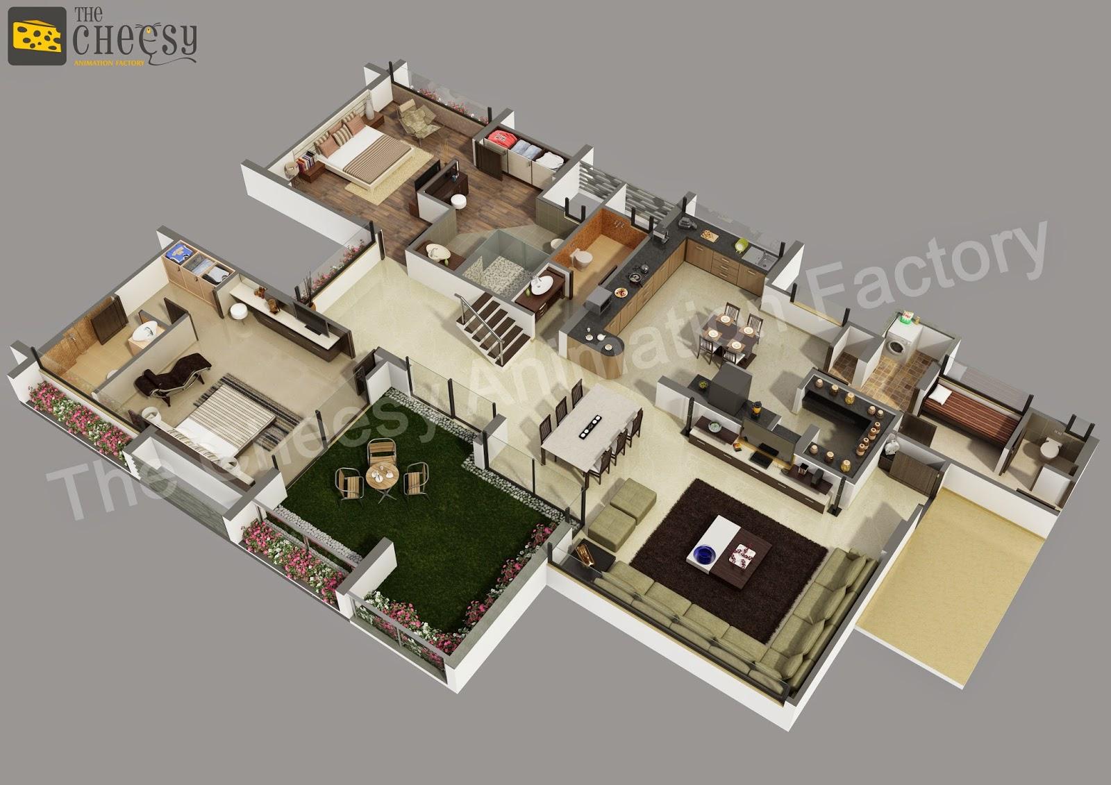 Incroyable 3D Floor Plan | 3D Floor Plan For House