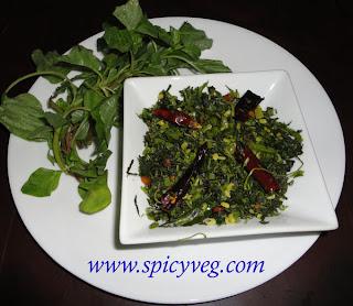 Amaranth Leaves Stir Fry - Thota Koora Podi Koora