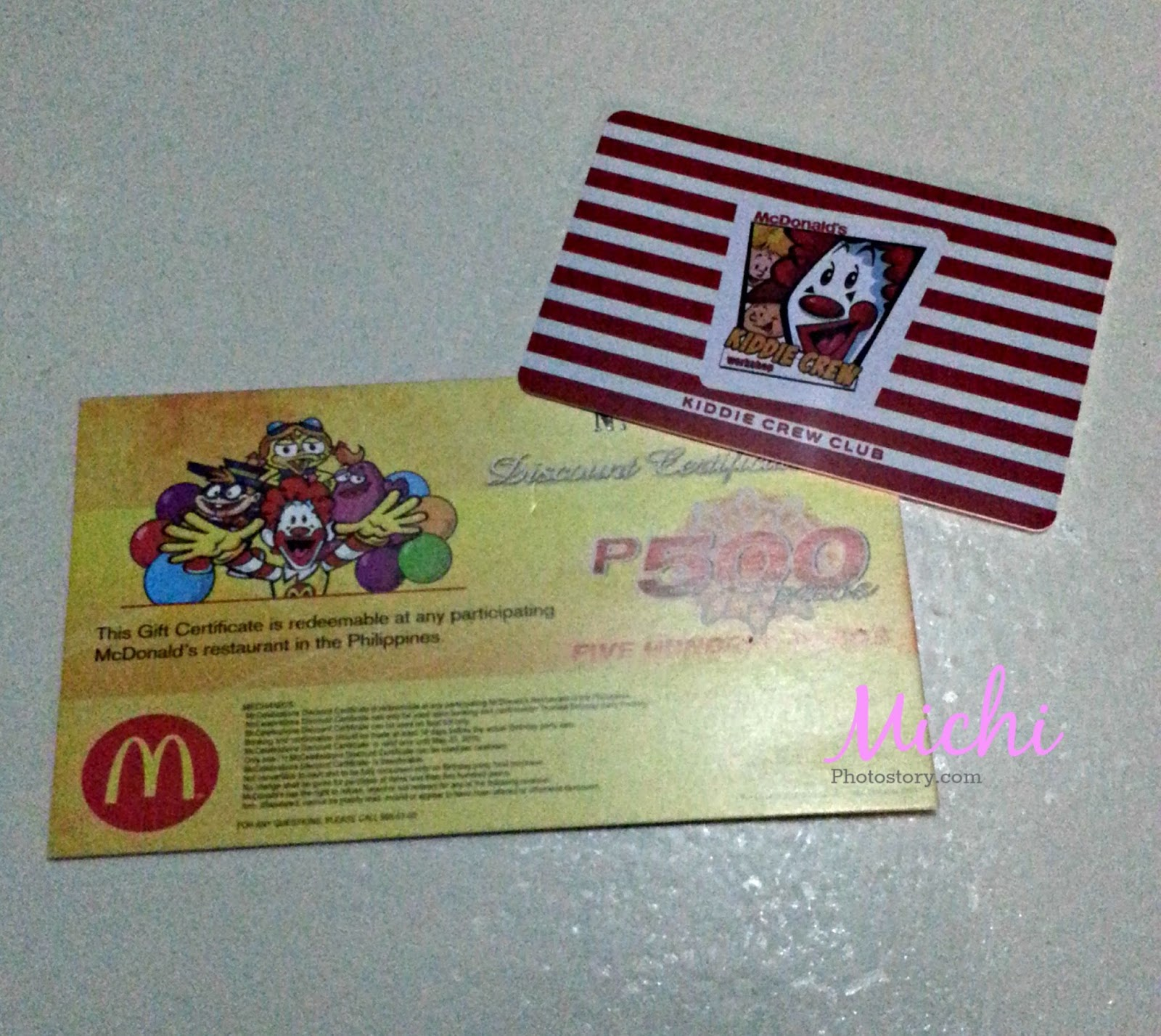 Michi photostory mcdonalds kiddie crew club card the first time i had this card was 6 years ago and i was able to use it in my sons 1st birthday party at that time i got 10 discount in 1betcityfo Image collections