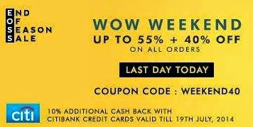 Expired: Upto 55% Off + Extra 40% Off on Clothing / Footwear / Accessories + 10% Extra Cashback on Citi Bank Card @ Myntra