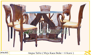 Kursi dan Meja Makan Ukiran Kayu Jati Angsa Table 6 Chair