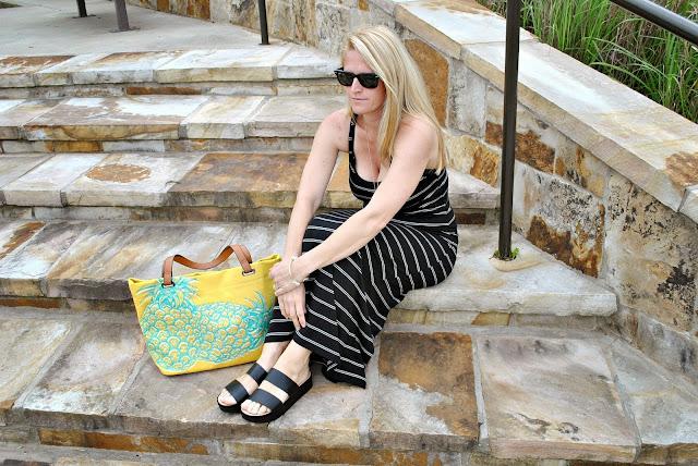 Uniqlo Bra Top Striped Maxi Dress