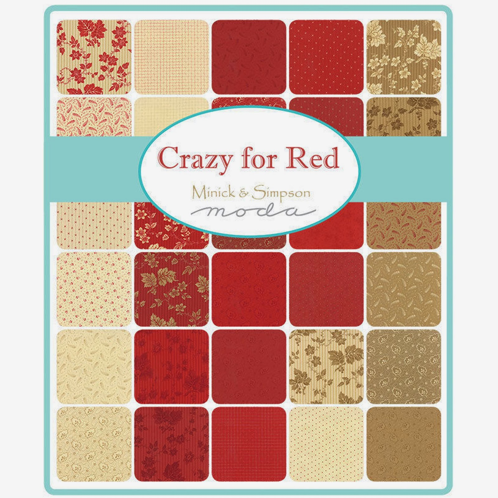 Moda CRAZY FOR RED Fabric by Minick & Simpson for Moda Fabrics