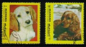 1968年マナマ ゴールデン・レトリーバーの子犬 コッカー・スパニエルの切手