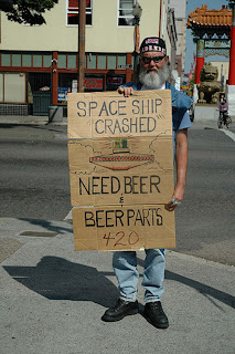 funny homeless sign beer