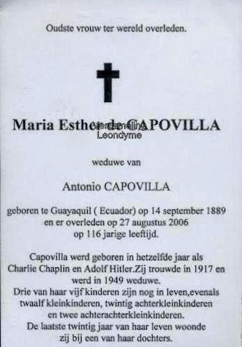Maria Esther de Capovilla 1889-2006. Herdenkingsprentje, verzameling Leondyme.