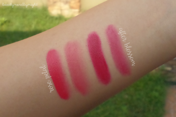 Swatches of Etude House Rosy Tint Lips
