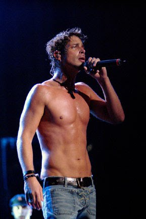 shirtless singers chris cornell shirtless singing sweating it out
