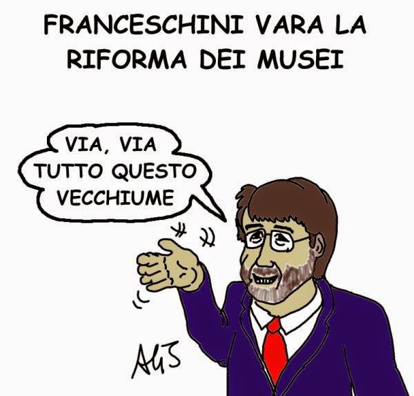 Franceschini, riforme, musei, satira, vignetta