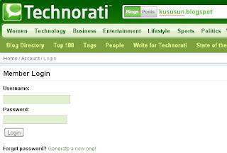 Cara daftar Technorati untuk blog
