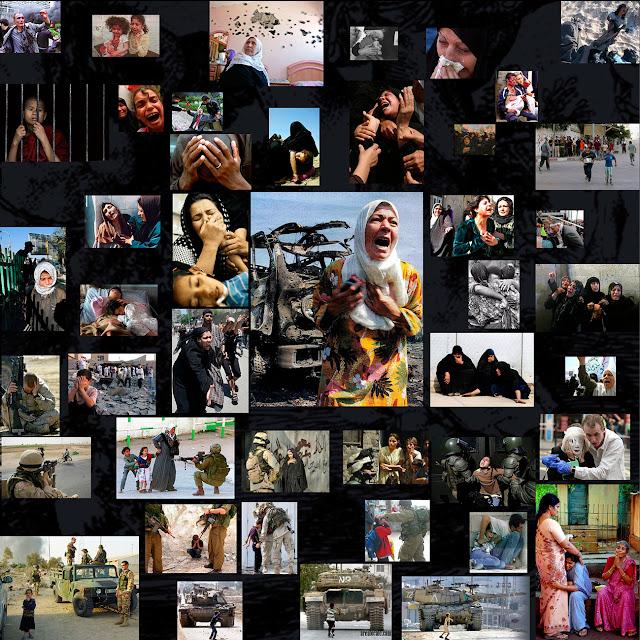colage fotográfico, imágenes de la guerra