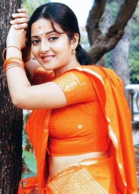 Cute Hot Girl In Orange Colour Saree