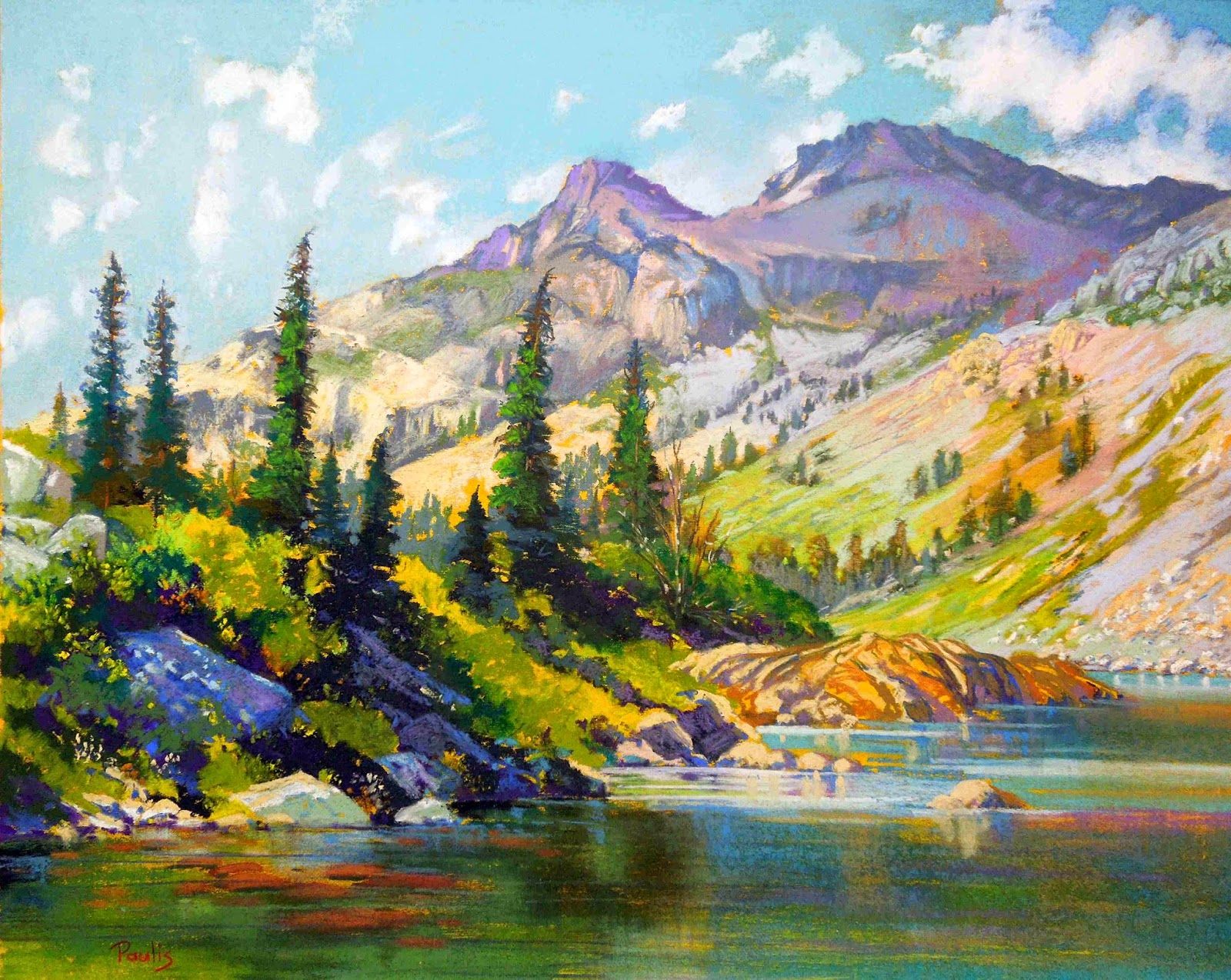 Bonita paulis fine art 16 x 20 pastel paintings for Summer lake