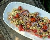 Spiral Zucchini Noodle Zoodle Greek Salad (A Veggie Venture)