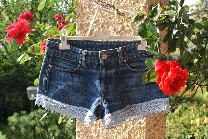 lace denim shorts diy fashion