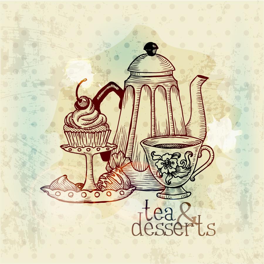 お茶とデザートのレトロな背景 retro tea and dessert painting イラスト素材