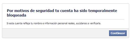 Cuenta bloqueada Facebook 2013