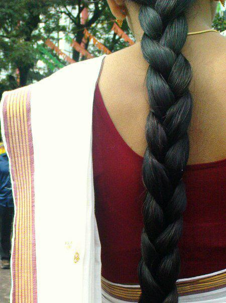 long hair braid to celebrate Onam