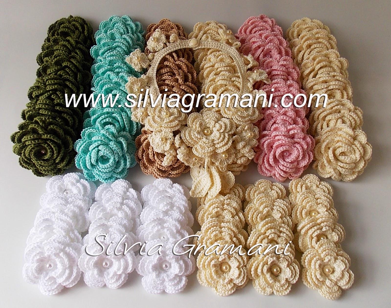 Flores de Crochê e colar de crochê com flores
