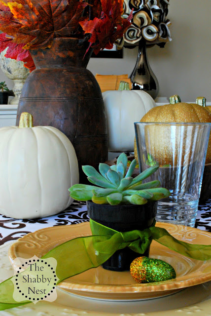 Fall Tablescape using Succelents by The Shabby Nest