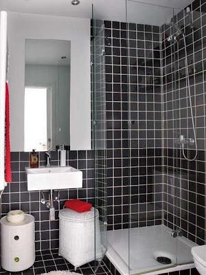 baño pequeño color negro