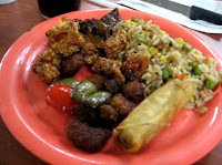 From aprevious visit in 2010: Chinese fried rice, sweet and sour chicken and an eggroll.