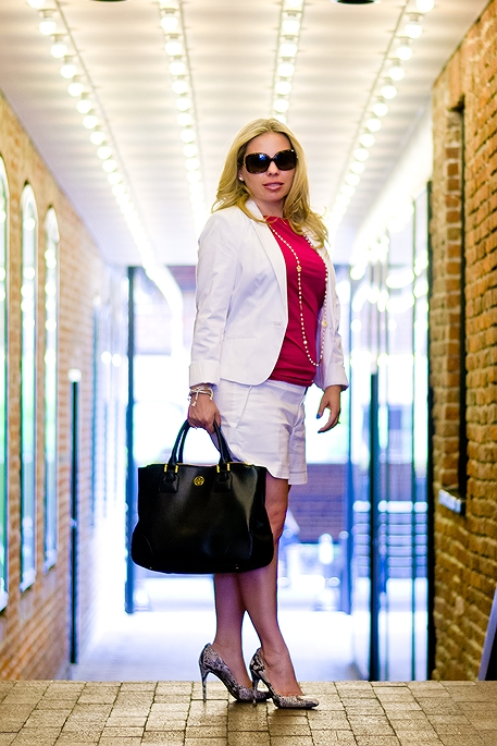 Banana Republic white shorts, H&M white blazer, Banana Republic pink shirt, Tory Burch bag, Burberry aviator sunglasses, Calvin Klein Women's Whinnie Python Pump, David Yurman silver and black onyx ring and cable buckle bracelet