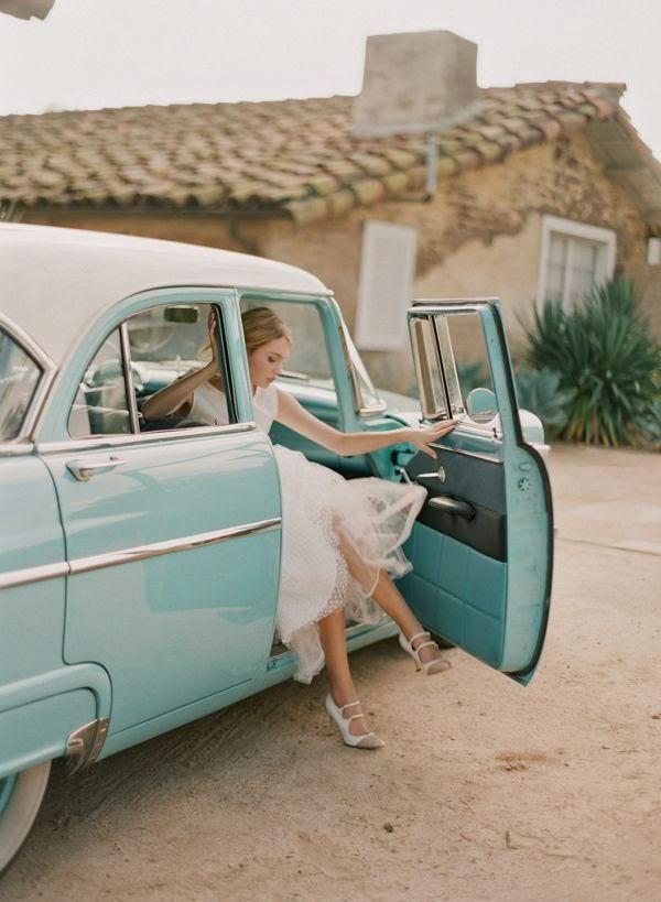 Blue Vintage Car Wedding