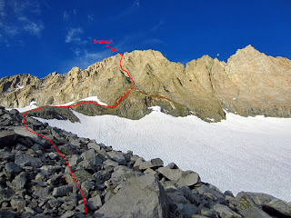 Approximate route that we took on the North-East Face. This is not the standard route. We were able to avoid the snow and glacier.
