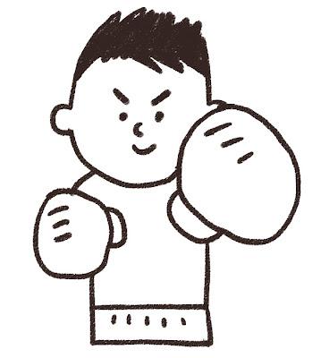 プロボクシングの選手のイラスト(スポーツ) モノクロ線画