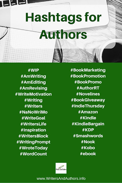 Hashtags for Authors #Writers #Authors @JoLinsdell @Writers_Authors