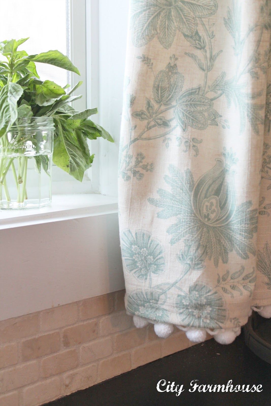 Linen Pom Pom Cafe Curtains City Farmhouse